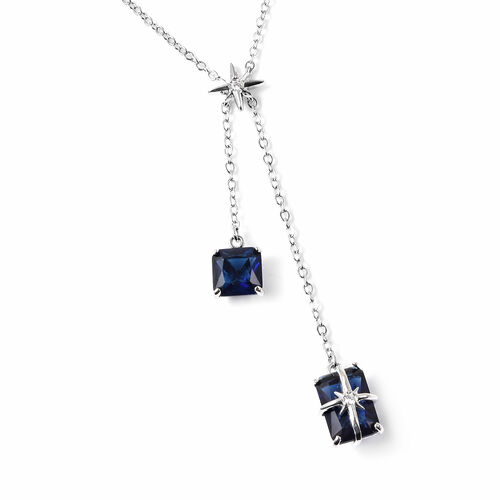Set of 2 - Simulated Blue Sapphire Necklace (Size 20 with 3 inch Extender) & Earrings (with Push Back) in Silver Tone