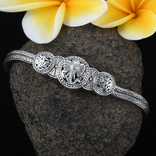 Royal Bali Collection - Sterling Silver Elephant Tulang Naga Bracelet (Size 7.5) with T Lock, Silver wt 20.00 Gms.