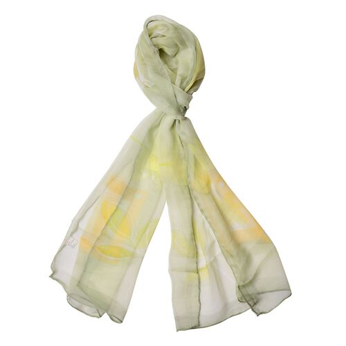 100% Mulberry Silk Yellow and Orange Colour Floral and Leaves Pattern Green Colour Scarf (Size 170x5