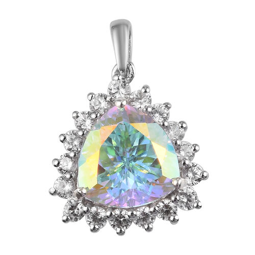 Mercury Mystic Topaz and Natural Cambodian Zircon Pendant in Platinum Overlay Sterling Silver 7.75 C