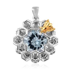 Sky Blue Topaz (Rnd) Honeycomb Bee Pendant in Platinum and Yellow Gold Overlay Sterling Silver 7.00