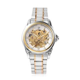GENOA Automatic Skeleton Water Resistant Watch with White Hollow-out Dial in Dual Tone