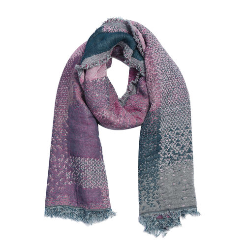 Super Luxurious Mohair & Cotton Blend Scarf - Pink and Grey Colour (Size 70x180 Cm)