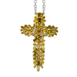 Doorbuster Deal- Yellow Diamond (Rnd and Bgt) Cross Pendant with Chain (Size 20) in Platinum and Yel