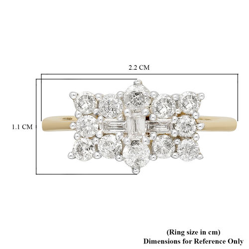 9K Yellow Gold SGL Certified Diamond (I3/G-H) Boat Ring 1.00 Ct.