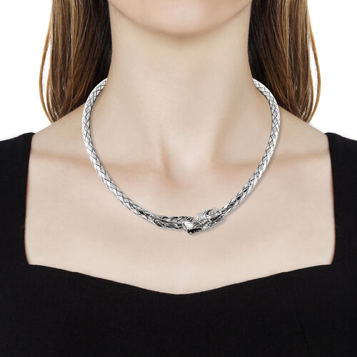 Royal Bali Collection Oxidised Sterling Silver Dragon Wrap Necklace (Size 18), Silver wt 70.47 Gms.