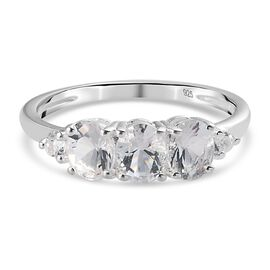 Petalite 3 Stone Ring in Sterling Silver 0.87 Ct.