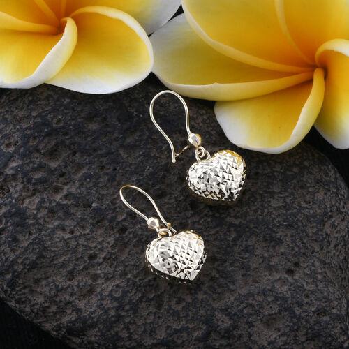 Royal Bali Collection 9K Yellow Gold Diamond Cut Heart Hook Earrings.Gold WT 1.30 Gms