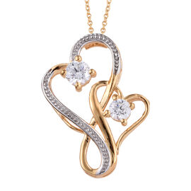 J Francis - 14K Gold Overlay Sterling Silver (Rnd) Heart Pendant With Chain (Size 20) Made with SWAR