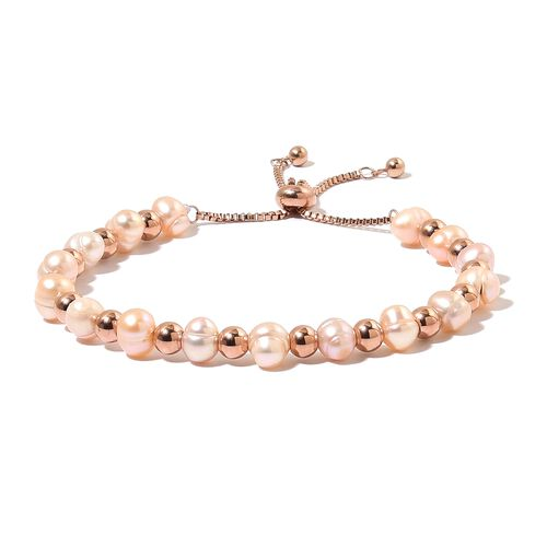 Fresh Water Peach Pearl (7-8 mm) Adjustable Bracelet (Size 6.5-9.5) and Hook Earrings in ION Plated Rose Gold Tone with Stainless Steel