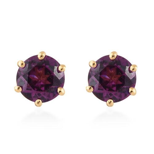 Purple Garnet (Rnd) Stud Earrings with Push Back in 14K Gold Overlay Sterling Silver