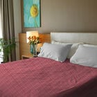 100% Cotton Rasberry Pink and White Colour Bed Cover Size 240x170 Cm