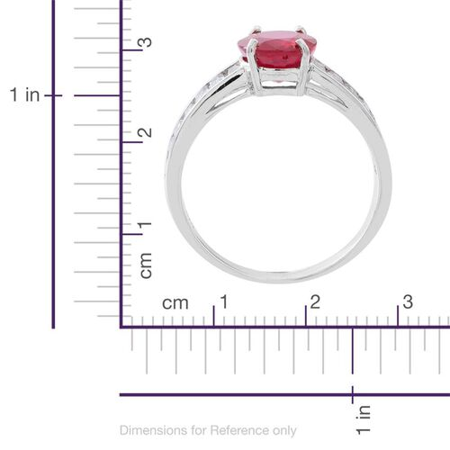 African Ruby (Ovl 3.75 Ct), White Topaz Ring in Rhodium Plated Sterling Silver 5.500 Ct.