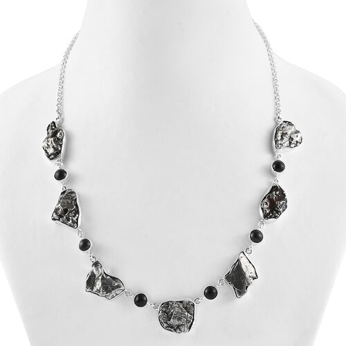 Artisan Crafted : Meteorite and Shungite Necklace (Size 20) in Sterling Silver 145.00 Ct, Silver wt. 13.83 Gms