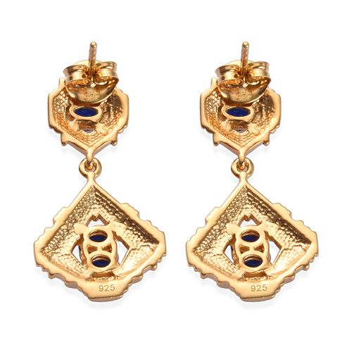 Tanzanian Blue Spinel Enamelled Earrings (with Push Back) in 14K Gold Overlay Sterling Silver 1.25 Ct, Silver wt. 5.80 Gms