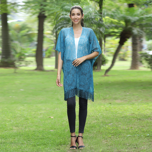 JOVIE Lace Kimono With Tassel Detailing - Turquoise