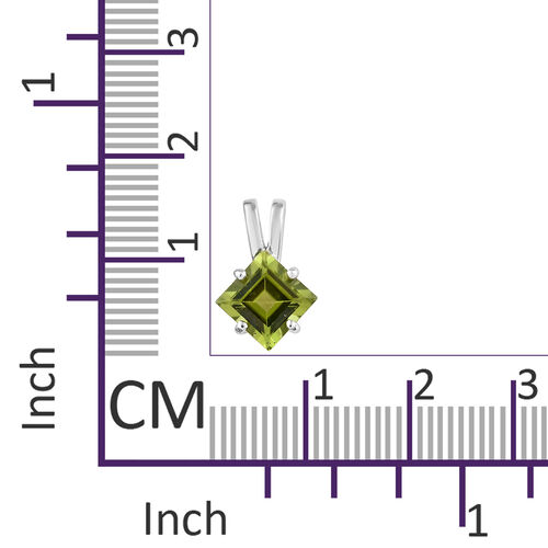 9K White Gold AAA Hebei Peridot (Sqr) Solitaire Pendant 1.700 Ct.