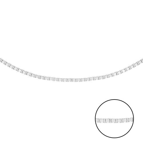 9K White Gold Adjustable Venetian Box Chain (Size 16-18) with Spring Ring Clasp