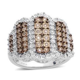 GP Diamond (Rnd), Natural Champagne Diamond and Kanchanaburi Blue Sapphire Ring in Platinum Overlay