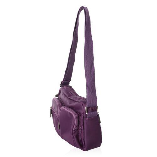Annabelle Water Resistat Rich Purple Cross Body Bag with External Zipper Pockets (Size 22x17x7 Cm)