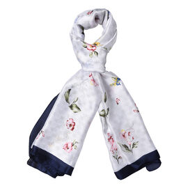 White and Navy Colour Butterfly with Floral Pattern Scarf (Size 90x180 Cm)