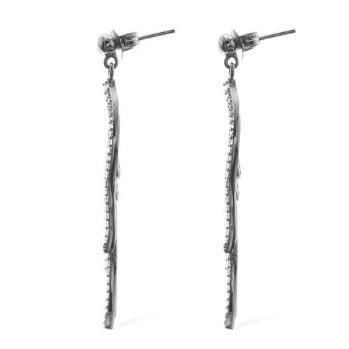Designer Inspired- Angel Wing ELANZA  Simulated Diamond (Rnd) Earrings (with Push Back) in Rhodium Overlay Sterling Silver