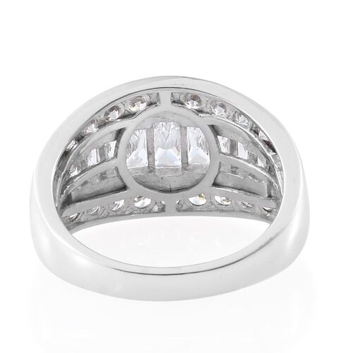 J Francis - Platinum Overlay Sterling Silver (Bgt) Ring Made with SWAROVSKI ZIRCONIA, Silver wt 5.70 Gms.