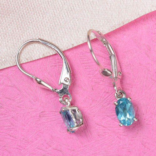 Paraibe Apatite Solitaire Lever Back Earrings in Sterling Silver 1.00 Ct.