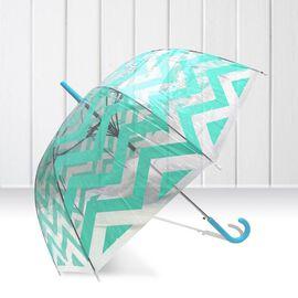 Blooms of London - Chevron Pattern Transparent and Green Umbrella