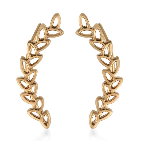 MP Vicenza Collection 14K Gold Overlay Sterling Silver Leaves Climber Earrings
