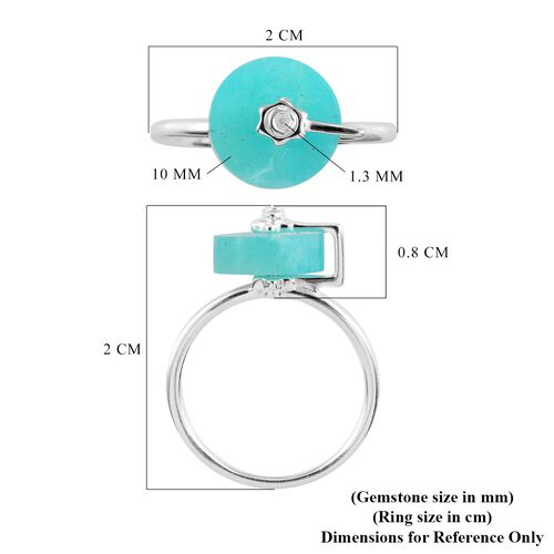Amazonite and Natural Cambodian Zircon Ring in Sterling Silver 3.47Ct.