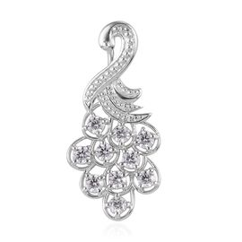 J Francis - Platinum Overlay Sterling Silver Peacock Pendant Made with SWAROVSKI ZIRCONIA 2.00 Ct.
