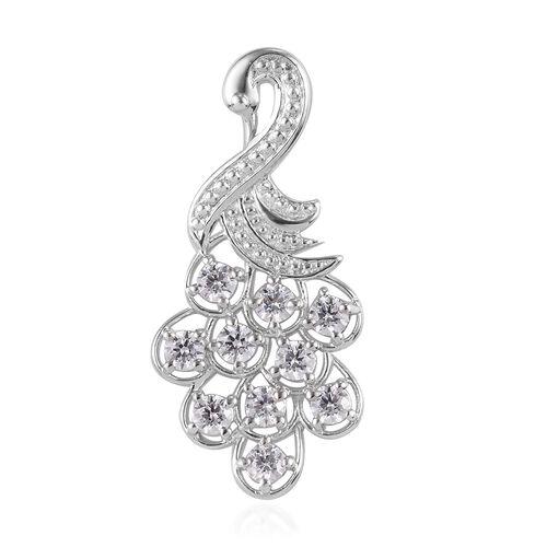 J Francis - Platinum Overlay Sterling Silver Peacock Pendant Made with SWAROVSKI ZIRCONIA 2.00 Ct.