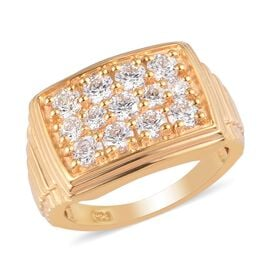 J Francis - 14K Gold Overlay Sterling Silver Signet Ring Made with SWAROVSKI ZIRCONIA