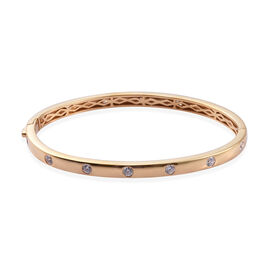 J Francis Made with Swarovski Zirconia Stacker Bangle in Gold Plated Sterling Silver 20.27 Grams