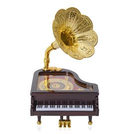 Gramophone Piano Music Box with Gold Record Detail (Size 25x15.5x14 Cm)