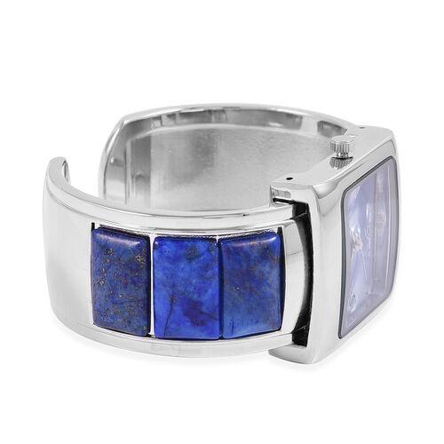 2 Piece Set- STRADA Japanese Movement Bangle Watch with  Lapis lazuli Round Bead Stretchable Bracelet 195.00 Ct.