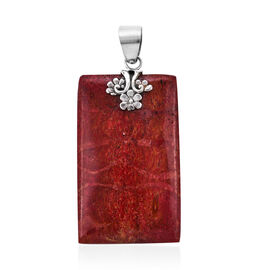 Coral Solitaire Pendant in Sterling Silver