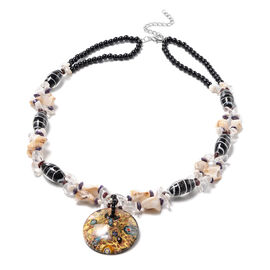 Black Murano Beads, White Austrian Crystal, Red Garnet and Multi Gemstone Nceklace (Size 28 with 3 i