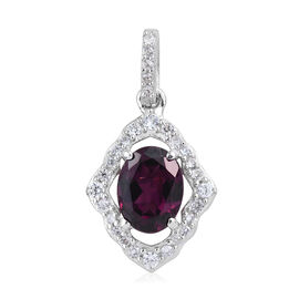 Purple Garnet (Ovl), Natural Cambodian Zircon Pendant in Platinum Overlay Sterling Silver 1.750 Ct.