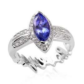 GP Premium Tanzanite, Natural Cambodian Zircon and Blue Sapphire Ring in Platinum Overlay Sterling S