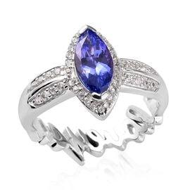 GP Premium Tanzanite, Natural Cambodian Zircon and Blue Sapphire Ring in Platinum Overlay Sterling S