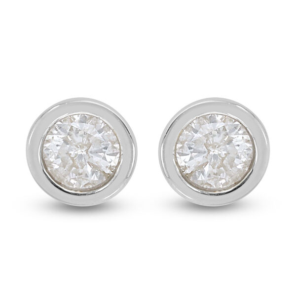 9K White Gold SGL Certified Diamond (Rnd) (I3 G-H) Solitaire Stud Earrings (with Push Back)