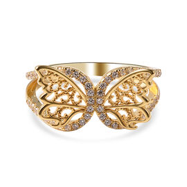 ELANZA Simulated Diamond Butterfly Ring in Yellow Gold Overlay Sterling Silver