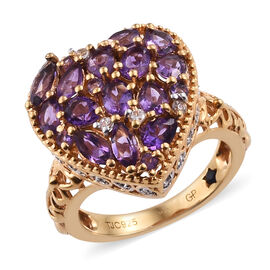 African Amethyst (1.90 Ct),Cambodian Zircon,Kanchanaburi Blue Sapphire 14K Gold Overlay Sterling Silver Ring  2.520  Ct.