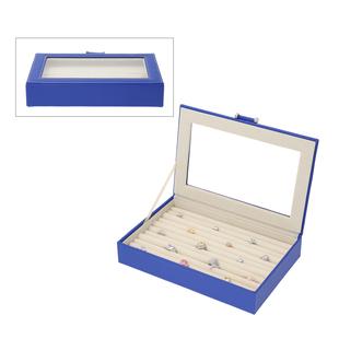 Portable Anti Tarnish Lining Jewellery Box with Glass Window (Size:26.7x17.8x5.5Cm) - Royal Blue