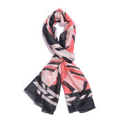 100% Mulberry Silk Black, Red and White Colour Handscreen Printed Scarf (Size 170X50 Cm)
