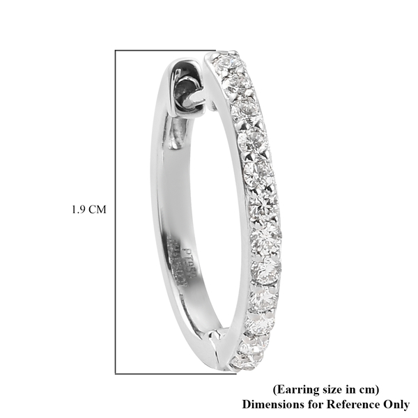 RHAPSODY 950 Platinum IGI Certified Diamond (VS/E-F) Inside-Out Hoop Earrings (with Clasp Lock) 0.50 Ct, Platinum wt 5.63 Gms
