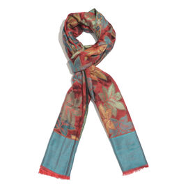 One Time Deal-Red, Blue and Multi Colour Leaves Pattern Jacquard Weave Design Scarf with Fringes (Size 190X70 Cm)