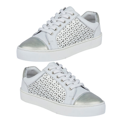 Lotus Leather Cologne Lace-Up Trainers (Size 4) - White